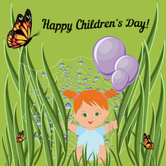 Happy Children Day greeting card template with red hair toddler girl sitting on grass and holding balloons.