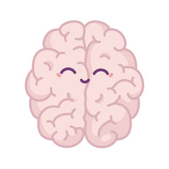 Positive thinking. Smiling brain. Vector illustration