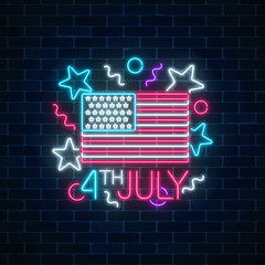 USA independence day glowing neon sign with usa flag and text. 4th july holiday banner