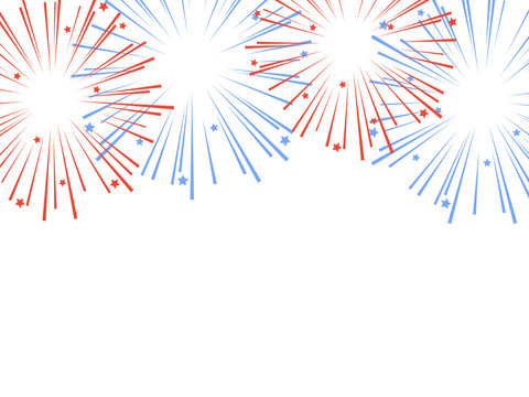 Red and blue exploding fireworks with stars. Vector