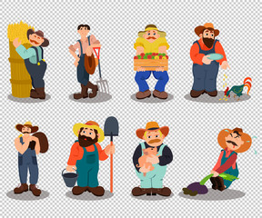 Set of farmers. Farmer with shovel, rake in wheat field working. Harvesting crop. Village theme. Flat style vector illustration
