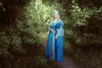 Beautiful elf woman in a blue dress standing in the fairy forest.