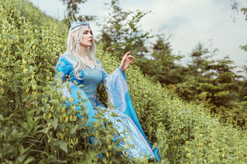 Beautiful elf woman in a blue dress is sitting in the grass on a hill.