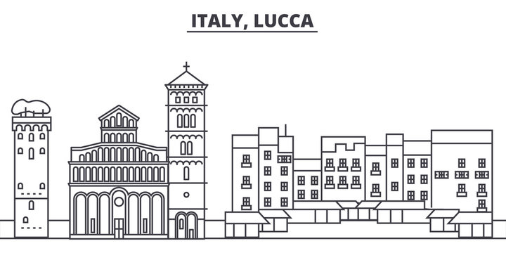 Italy, Lucca line skyline vector illustration. Italy, Lucca linear cityscape with famous landmarks, city sights, vector design landscape.
