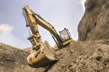Monumental view of an excavator