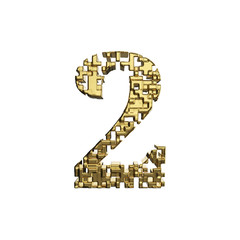 Alphabet number 2. Golden font made of yellow metallic shapes. 3D render isolated on white background.
