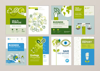 Fototapeta Set of brochure and annual report cover design templates of nature, green technology, renewable energy, sustainable development, environment. Vector illustrations for flyer layout, marketing material. obraz