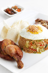 Fried rice, egg and meat