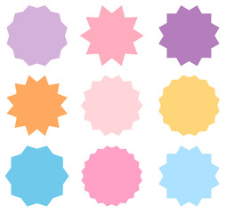 Set of vector pastel colored starburst symbols. Sunburst empty labels or stickers for advertising, shop sales tags and graphic design