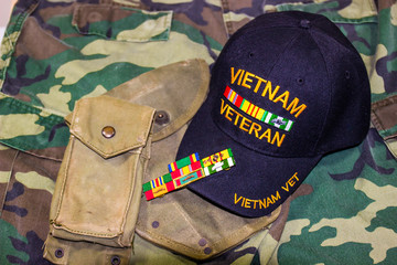 Vietnam Veteran Hat, Ribbons & Weathered Pouches