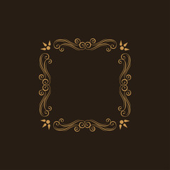 Ornamental floral decorative frame. Swirls, Scroll design element. Invitations, advertising or other design and place for text. Flourishes frame.