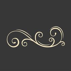Scroll filigree element, Swirl, Flourish curl. Calligraphic decorative floral page decoration. Design element. Vector.