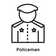 Policeman icon vector sign and symbol isolated on white background