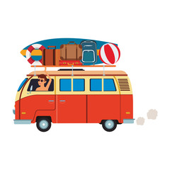 Surfer van cartoon vector illustration graphic design