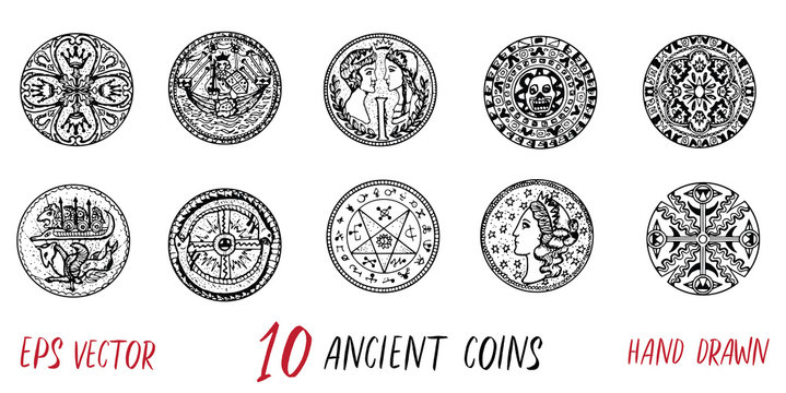 Vintage collection with ten ancient coins. Hand drawn doodle engraved illustrations with graphic drawings