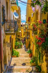 View of a narrow street in Taormina, Sicily, Italy