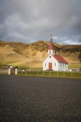 Church near Reynisfjara Black Sand Beach, Vik, Iceland