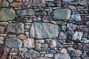 Stone foundation for vintage log cabin in blue ridge appalachia mountains