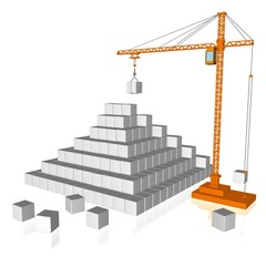3d illustration of crane and cubes