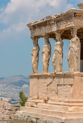 The Porch of the Caryatids, female figures that are part of the Erechtheion or Erechtheum, a temple on the north side of the Acropolis in Athens, Greece