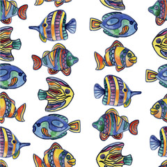 Rare, beautiful, marine, exotic, aquarium fish. Aquatic animals. Watercolor. Illustration