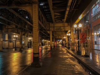 Impressive night view of the underground of the railroad