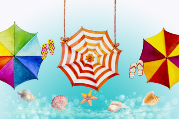 Hello summer watercolor painting colorful umbrella.