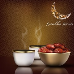 Ramadhan Kareem. Iftar party celebration with traditional coffee cup and bowl of dates