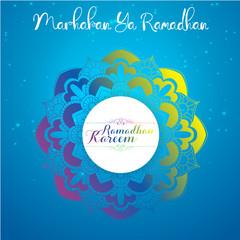 Marhaban Ya Ramadhan. Ramadan kareem greetings cards with Arabic floral pattern islamic background
