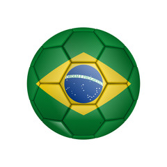 illustration of realistic soccer ball painted in the national flag of Brazil for mobile concept and web apps. Illustration of national soccer ball can be used for web and mobile