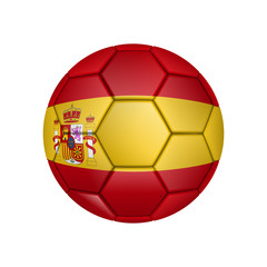 illustration of realistic soccer ball painted in the national flag of Spain for mobile concept and web apps. Illustration of national soccer ball can be used for web and mobile