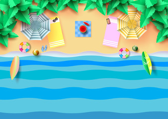Summer concept of aerial view with colorful umbrella,accessories and coconut trees on the beach.Paper art vector illustration.