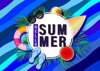 Summer beach concept banner background template with tropical palm leaves.Vector illustration