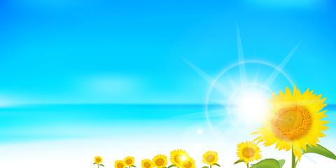 ひまわり 夏 風景 背景