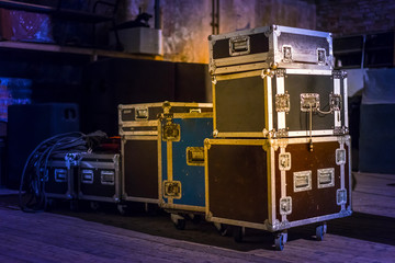 Concert equipment. Containers for transportation of equipment.