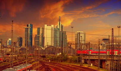 Wall Mural - Frankfurt skyline from railway station Germany