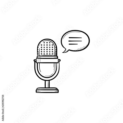 Radio microphone hand drawn outline doodle icon  Classic mic