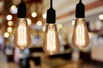 Vintage Lighting lamp in the restaurant cafe.