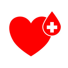 World Blood Donor Day, June 14. Red Blood drop with white cross sign drop on red heart.