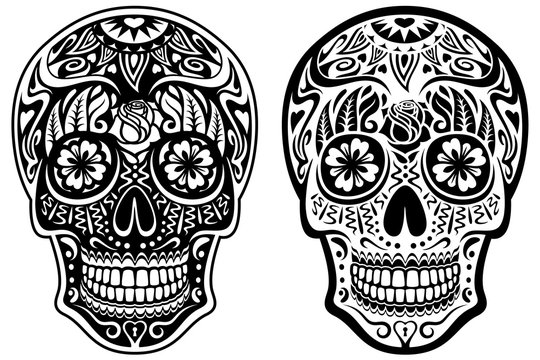 Vector illustration of a black and white sugar skull and its inverse, white and black version.