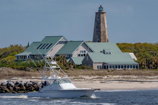 BALD HEAD ISLAND, NC - APRIL 14:  Bald Head Lighthouse, known as Old Baldy, stands on Bald Head Island, NC on April 14, 2018.