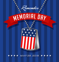 Memorial Day card or banner design with soldier's dog tags, banner and flag on blue striped background
