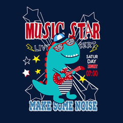 music star dinosaur kids t shirt vector