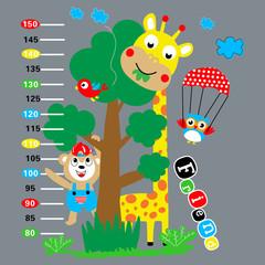 wall meter sticker animal giraffe cartoon vector art
