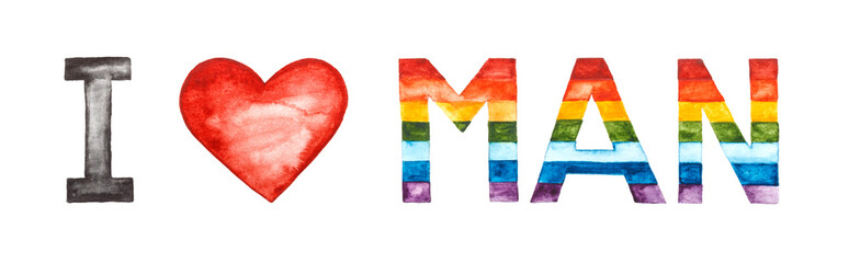 I love man lettering. Rainbow, red heart painted in watercolor on white background.