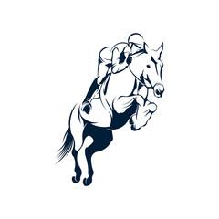 Jockey logo designs vector, Jumping Horse logo template, Horse Riding