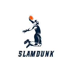 Slam Dunk basketball Pose silhouette logo, Basketball logo template vector