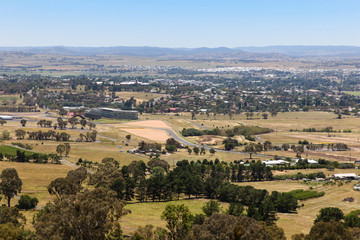 Bathurst - NSW Australia view from Mount Panorama. Bathurst is a regional city in Western New South Wales and is home to one of the most famous motor races in the world.