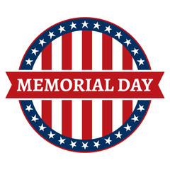 Memorial Day Stars and Stripes Circle Label Logo