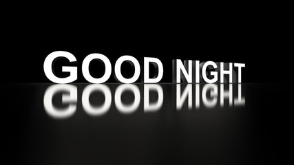Wording Good Night 3d rendering